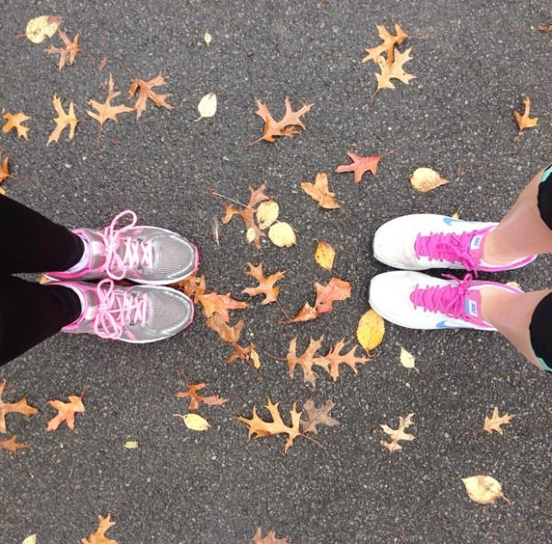 nike trainers in leaves