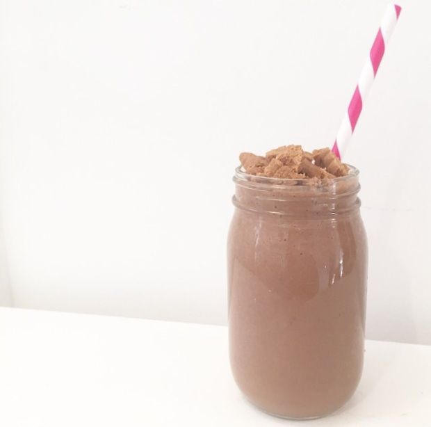 crunchy chocolate caramel vegan milkshake