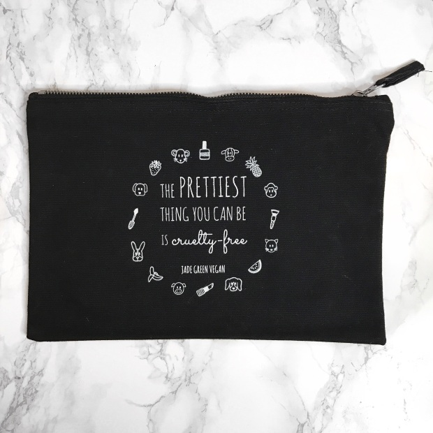 THE PRETTIEST THING YOU CAN BE IS CRUELTY FREE COSMETICS BAG