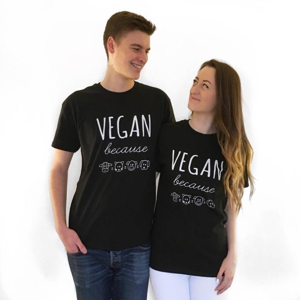 Vegan because unisex black t-shirt
