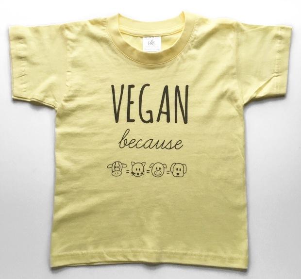 Vegan because yellow kids tee